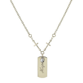 "1928 Jewelry: Symbols of Faith - Symbols of Faith Silver-Tone Crystal Cross Chain ""Hope"" Necklace"