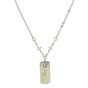 Silver-Tone Crystal Cross Chain  Joy  Necklace 20 In