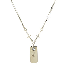 "1928 Jewelry: Symbols of Faith - Symbols of Faith Silver-Tone Crystal Cross Chain ""Joy"" Necklace"
