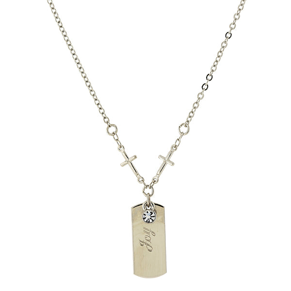 Silver Tone Crystal Cross Chain  Joy  Necklace 20 In