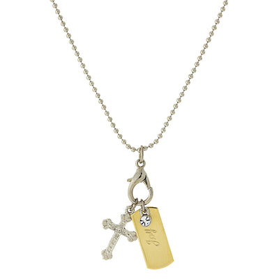 Silver Tone Chain And 14K Gold Dipped Joy Bar And Cross Charm Necklace 24 In