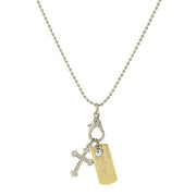 Silver Tone Chain And 14K Gold Dipped  Hope  Bar And Cross Charm Necklace 24 In