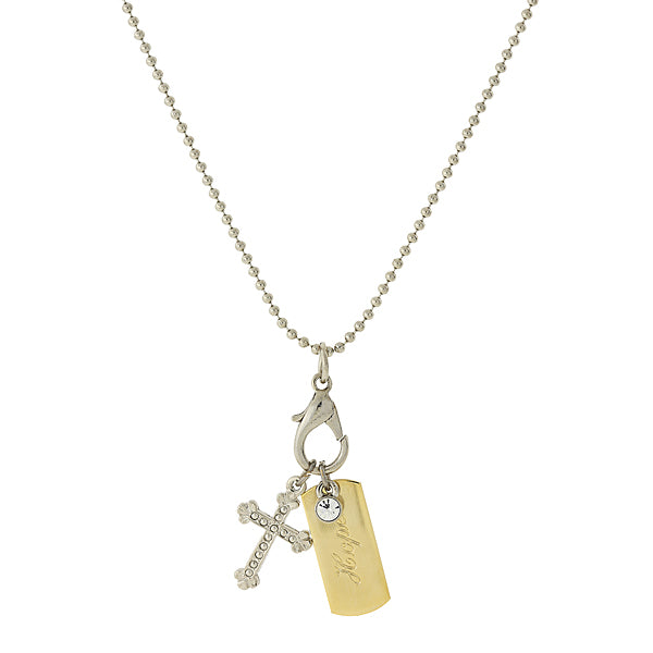 Silver-Tone Chain And 14K Gold-Dipped  Hope  Bar And Cross Charm Necklace 24 In