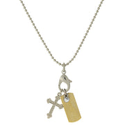Silver Tone Chain And 14K Gold Dipped  Love  Bar And Cross Charm Necklace 24 In