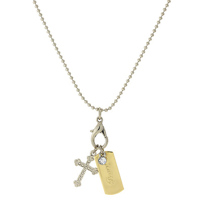 Silver-Tone Chain And 14K Gold-Dipped  Peace  Bar & Cross Charm Necklace 24 In