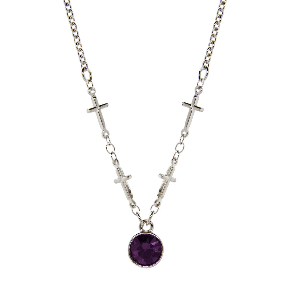 Symbols of Faith Silver Tone Cross Chain Purple Crystal Necklace