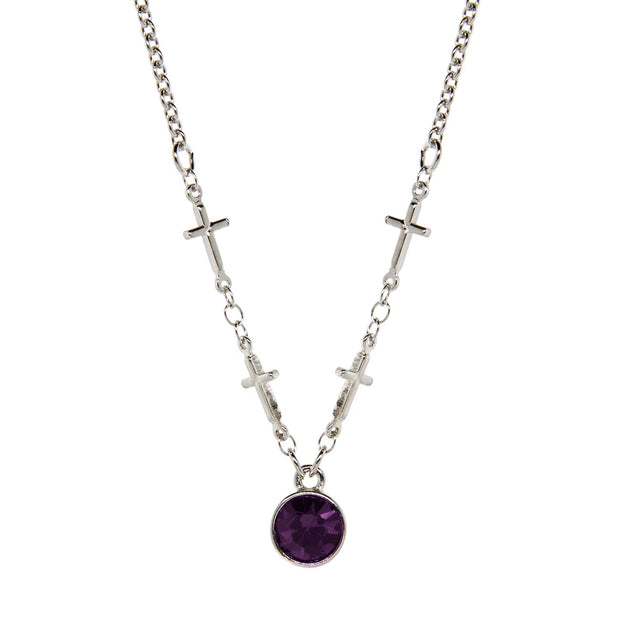 Silver-Tone Cross Chain Crystal Necklace 16 - 19 Inch Adjustable Purple