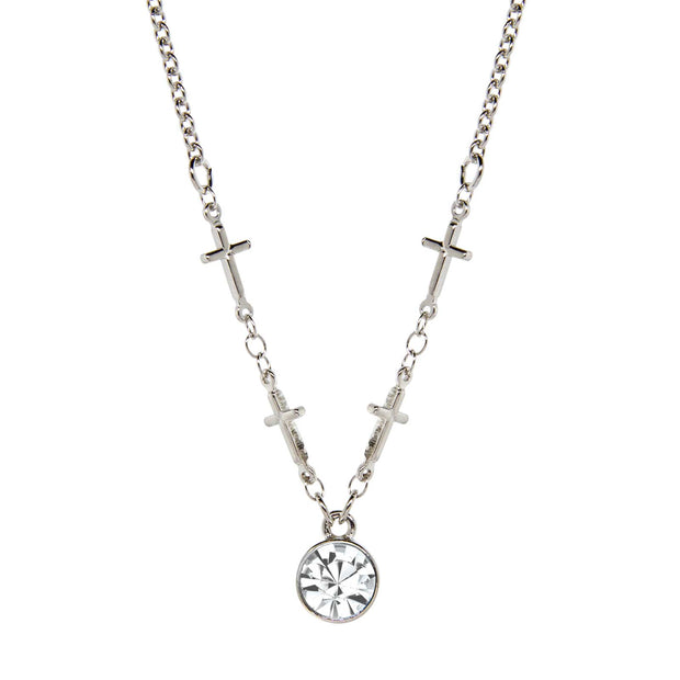 Crystal Clear Silver-Tone Cross Chain Crystal Necklace 16 - 19 Inch Adjustable