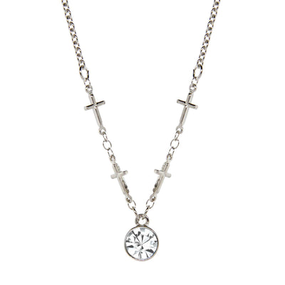 Silver-Tone Cross Chain Clear Crystal Necklace 16 In Adj