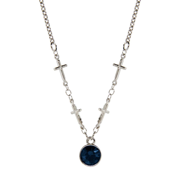 Silver-Tone Cross Chain Blue Crystal Necklace 16 In Adj
