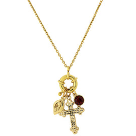 Symbols of Faith 14K Gold Dipped Red Stone and Cross Charm Necklace