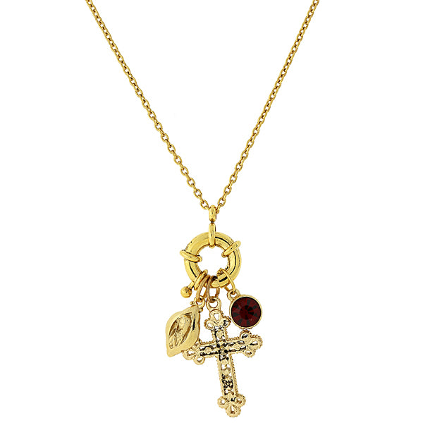 14K Gold Dipped Red Stone And Cross Charm Necklace 30 In