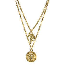 14K Gold-Dipped Angel and Cross Pendant Double Strand Necklace 16 In  Adj
