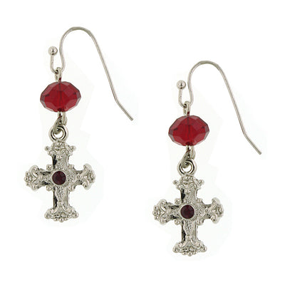 Silver-Tone Red Crystal Cross Drop Earrings