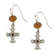 Silver Tone Brown Crystal Cross Drop Earrings