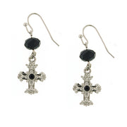 Silver-Tone Black Crystal Cross Drop Earrings