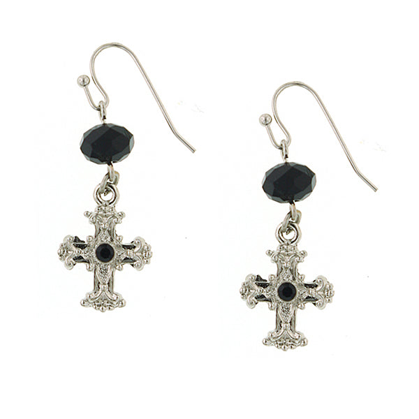 Silver Tone Black Crystal Cross Drop Earrings