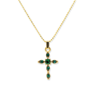 14K Gold-Dipped Green Crystal Cross Pendant Necklace 16 In Adj