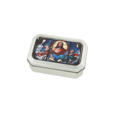 Silver Tone Multi Color Stained Glass Decal Tin Rosary Box
