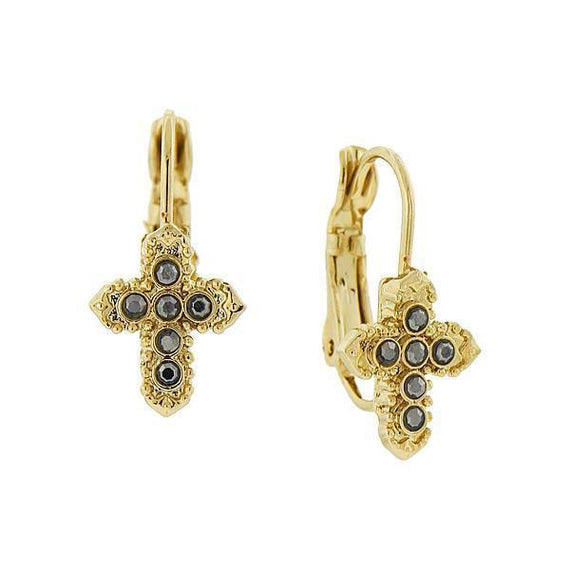 14K Gold-Dipped Hematite Color Petite Cross Earrings