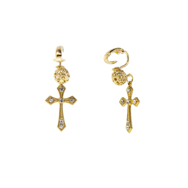 14K Gold Dipped Crystal Cross Clip Earrings