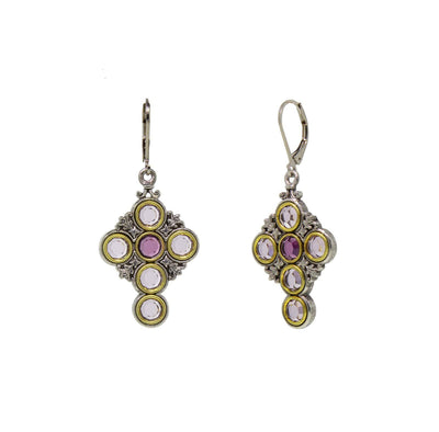 Pewter Cross With Light & Dark Amy Crystal Circle Stones Earrings