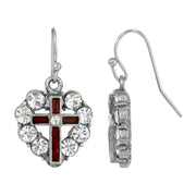 Symbols of Faith Pewter Heart Shaped Crystal Stones & Enamel Cross Earrings