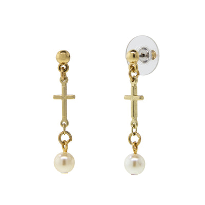 14K Gold Dipped Cross Drop Costume Pearl Earrings