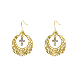 Gold Tone Hoop Crystal Cross Drop Earrings