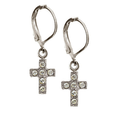 Silver Tone Crystal Ab Cross Drop Earrings