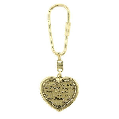 Gold-Tone Heart Peace Key Fob
