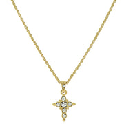 14K Gold Dipped Crystal Cross Pendant Necklace 16   19 Inch Adjustable