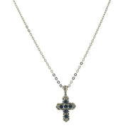 Silver Tone Blue Cross Necklace 16 - 19 Inch Adjustable