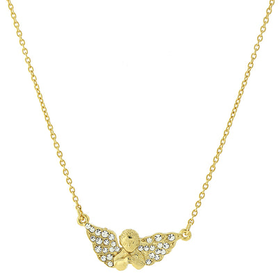 14K Gold-Dipped Crystal Guardian Angel Necklace 16 - 19 Inch Adjustable