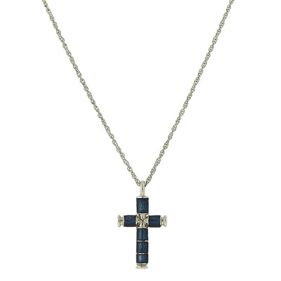 Silver Tone  Blue Enamel Cross Necklace 16   19 Inch Adjustable