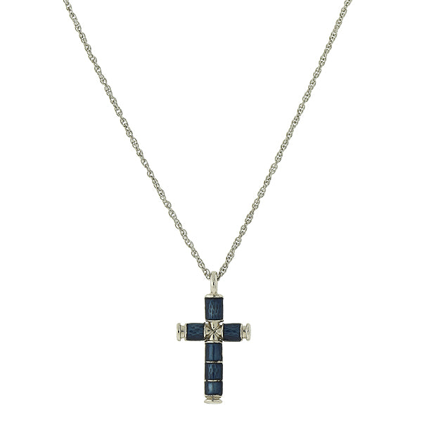 Silver-Tone  Blue Enamel Cross Necklace 16 - 19 Inch Adjustable