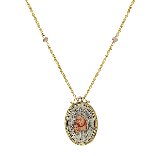 14K Gold-Dipped Silver-Tone Lt. Purple Crystal Mary & Child Pendant Necklace 30 In
