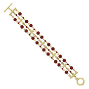 14K Gold Dipped Red 3 Row Bead And Cross Toggle Bracelet