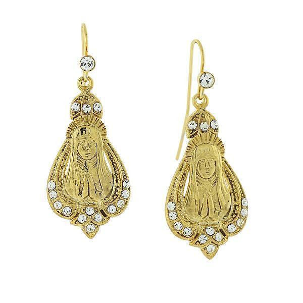 14K Gold Dipped Crystal Accent Praying Mary Drop Earrings