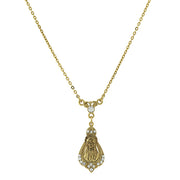 14K Gold Dipped With Crystal Accent Praying Mary Pendant Necklace 16   19 Inch Adjustable