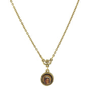 14K Gold-Dipped Mary Decal Petite Pendant Necklace 16 - 19 Inch Adjustable