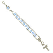 Silver Tone Light Blue Bead Crucifix Bracelet