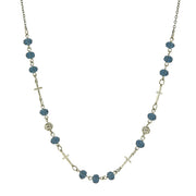 Silver-Tone Blue Bead Cross Necklace 16 - 19 Inch Adjustable