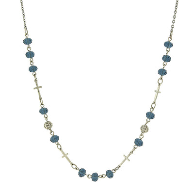 Silver Tone Blue Bead Cross Necklace 16   19 Inch Adjustable