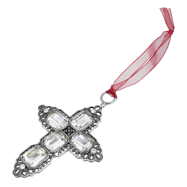 Silver Tone Octagon Swarovski Crystal Cross With Ribbon Ornament