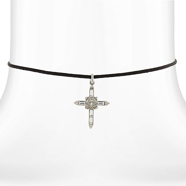 Silver Tone Crystal Cross Pendant Necklace On Satin Cord 14 Adj.