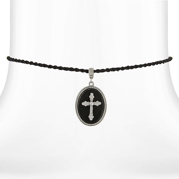 Silver Tone Black Oval Cross Pendant Necklace On Black Twist Cord 15 Adj.