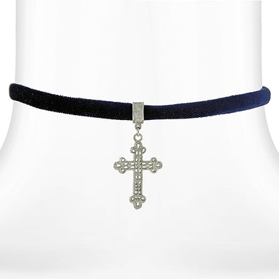 Silver Tone Filigree Cross Pendant Necklace On Black Velvet Ribbon 12 Adj.