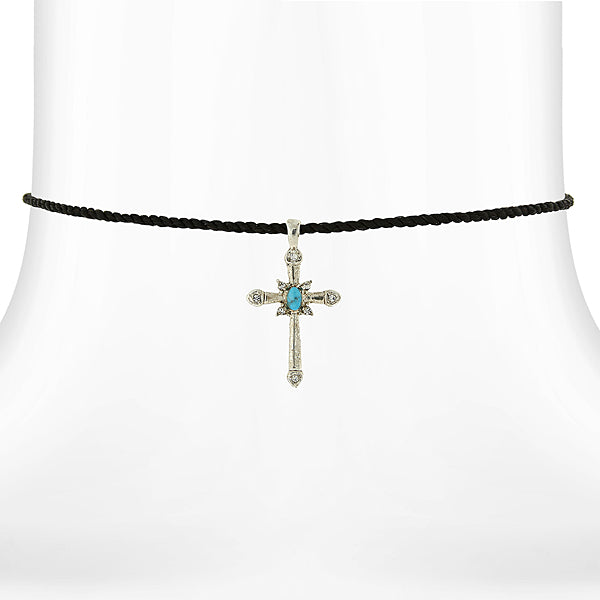 Pewter Tone Turquoise Cross Pendant Necklace On Satin Cord 15 Adj.