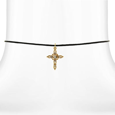 14K Gold Dipped Crystal Filigree Cross Pendant Necklace On Satin Cord 14 Adj.